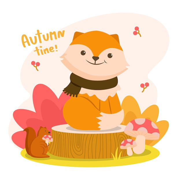 Autumm is happy with the fox on a stump with a squirrel holding a mushroom. Free Vector