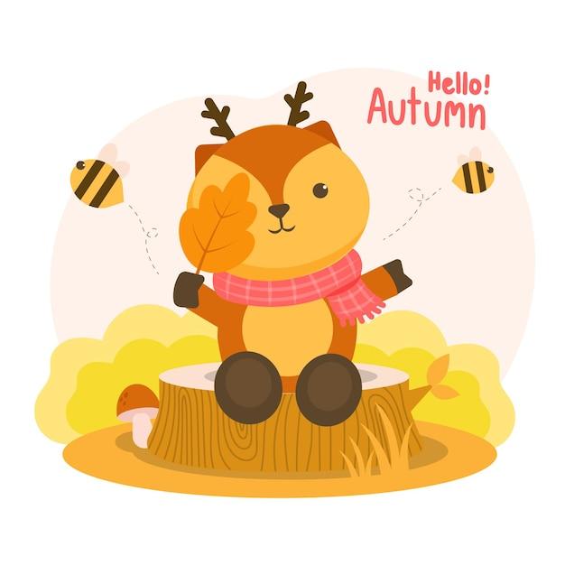 Autumm은 그루터기에 나뭇 가지를 들고있는 사슴과 날아 다니는 꿀벌에 만족했습니다. 무료 벡터