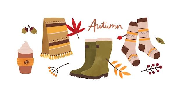 Осенние аксессуары рисованной иллюстрации. Premium векторы