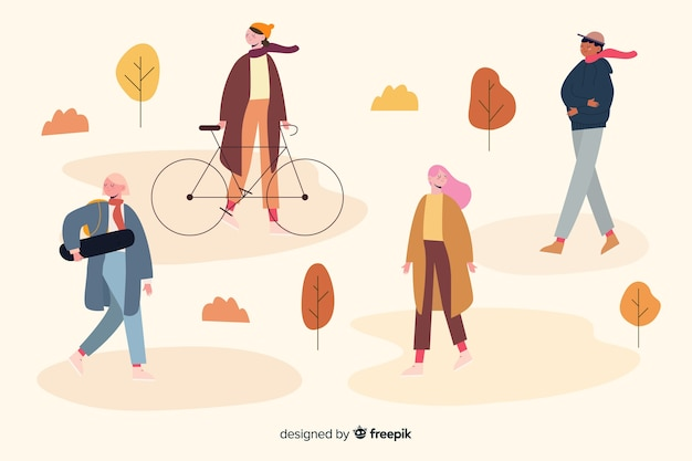 Autumn activities in park illustration design Free Vector