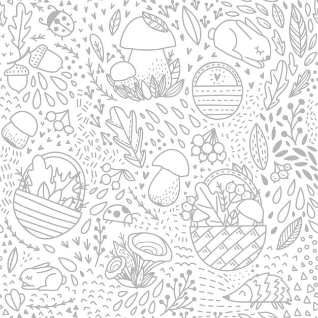 Осенний рисунок для взрослых с элементами леса Premium векторы