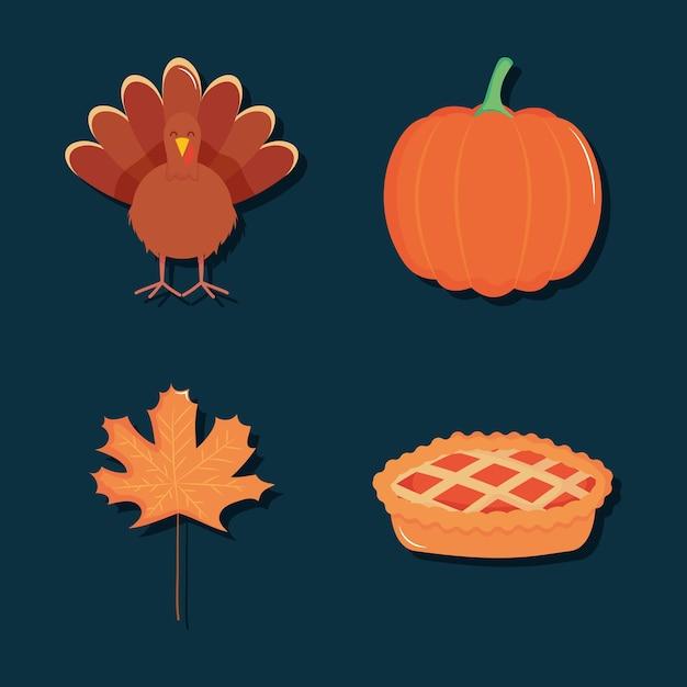 가을과 추수 감사절 아이콘이 파란색 배경 위에 설정 프리미엄 벡터