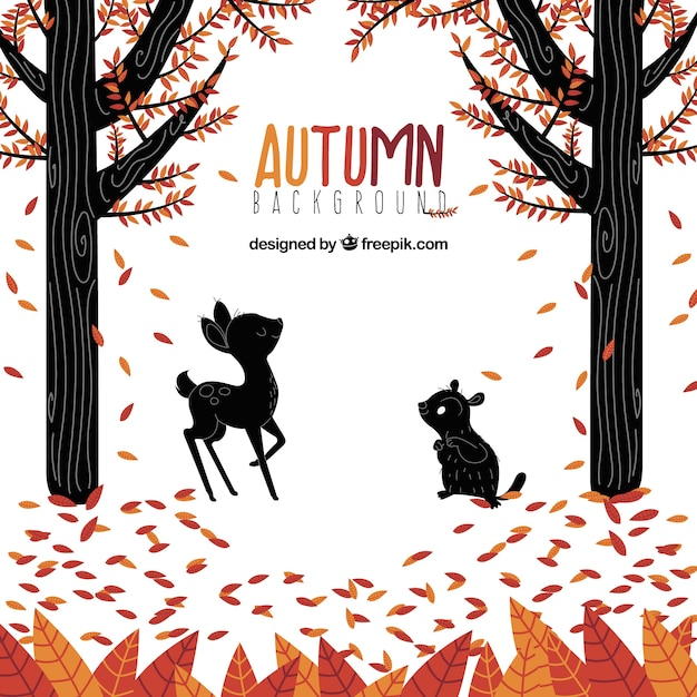 Autumn backgound with forest and animals
