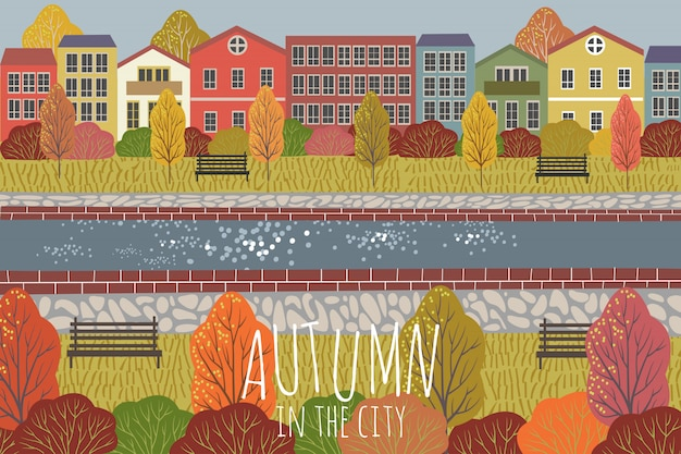 Autumn background. cute flat vector illustration of city landscape with houses Premium Vector