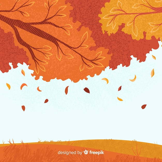 Autumn background hand drawn style Free Vector