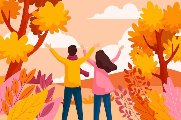 Осенний фон в плоском дизайне Бесплатные векторы