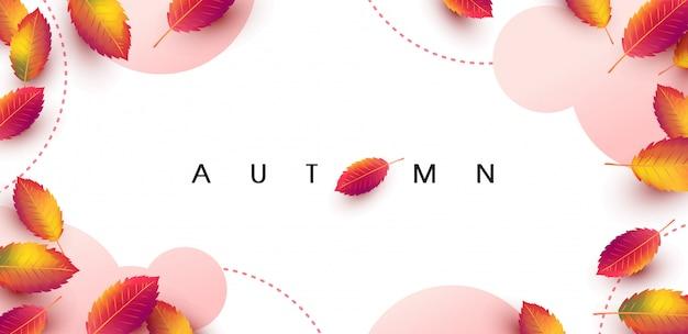 葉で飾る秋の背景レイアウト Premiumベクター