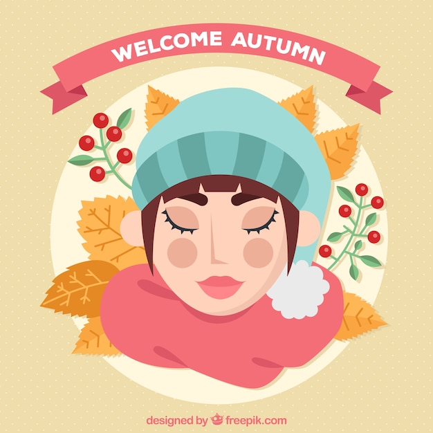 Autumn background of woman with an eyes closed