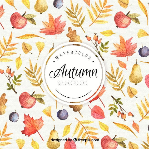 Autumn Background Painted With Watercolors Vector Free
