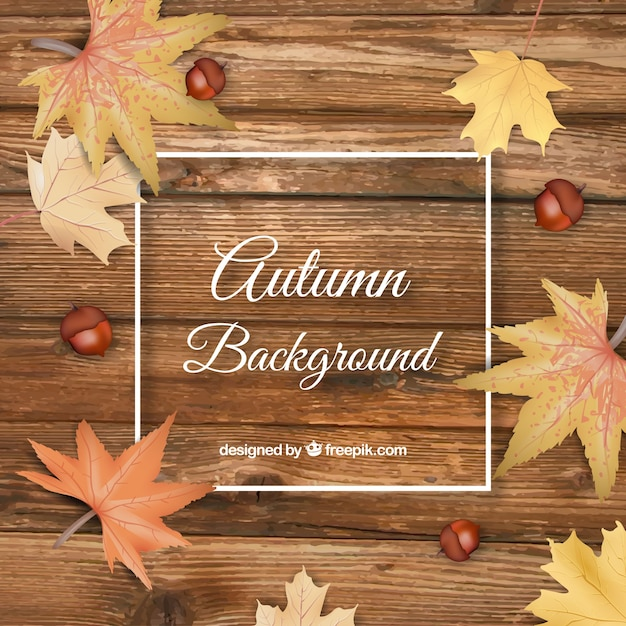 Autumn background in realistic style Free Vector