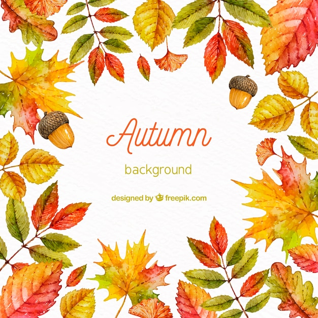 Autumn background in watercolor style Free Vector