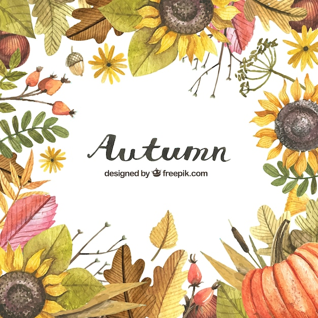 Autumn background with a painted frame with watercolors Free Vector