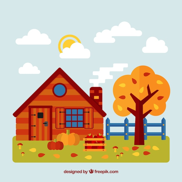 Autumn background with a red house Free Vector
