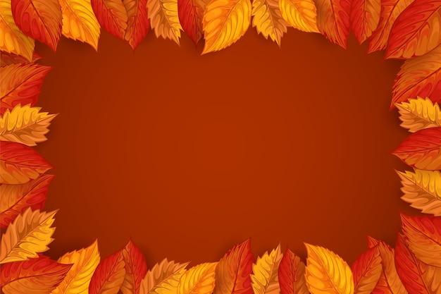 美しい葉と秋の背景 Premiumベクター