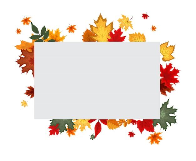 Autumn background with blank banner Premium Vector
