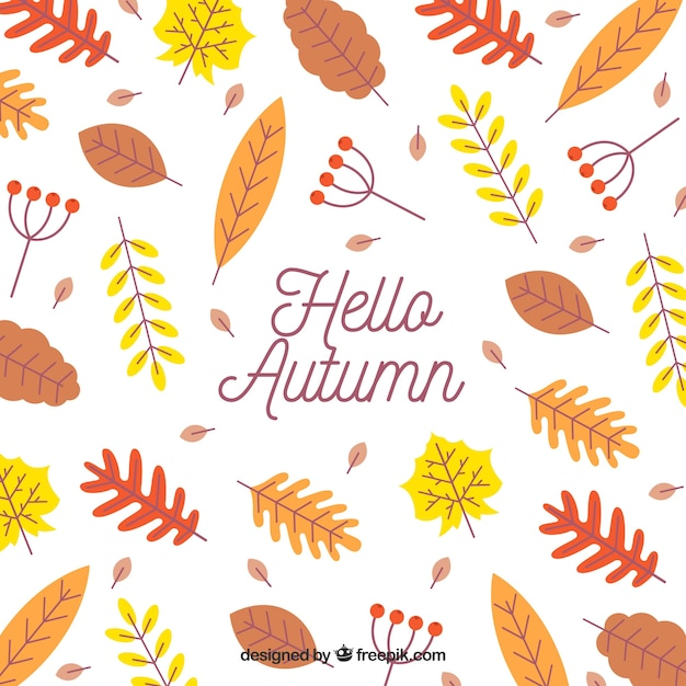 autumn background with colorful leaves vector free download