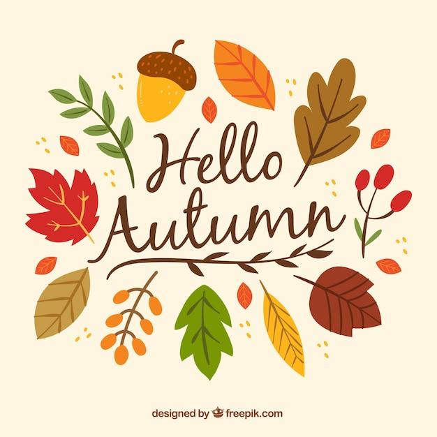 Осенний фон с разноцветными листьями Бесплатные векторы