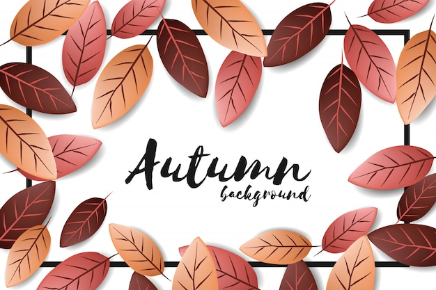 Autumn background with falling leaf Premium Vector
