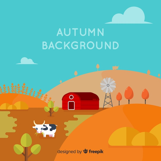 Autumn background with farm Free Vector