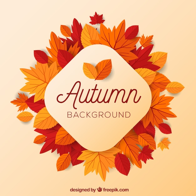 Autumn background with flat leaves Free Vector