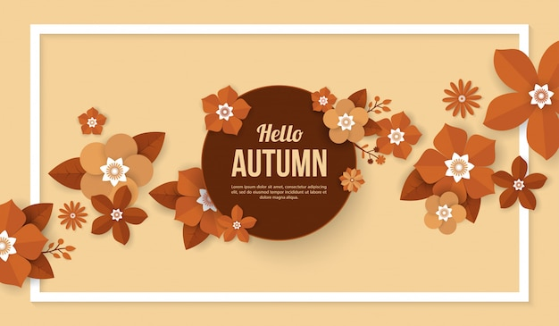 Autumn background with flower elements in paper cut style Premium Vector