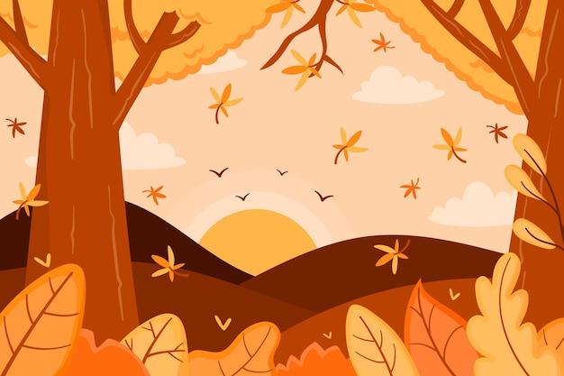 Осенний фон с лесом и деревьями Бесплатные векторы