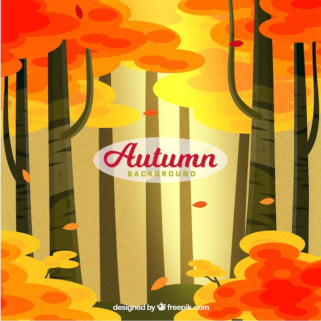 Autumn background with forest design
