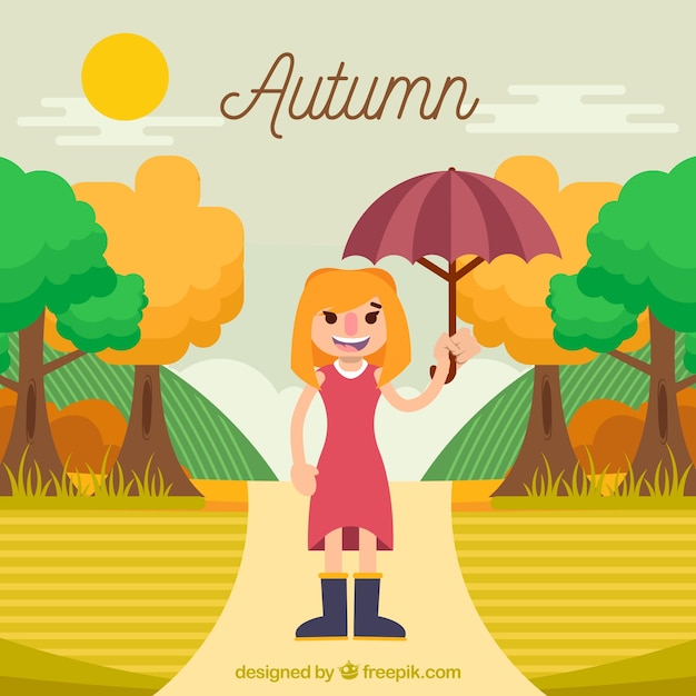 Autumn background with girl and\ landscape