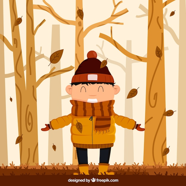 Autumn background with happy boy Free Vector