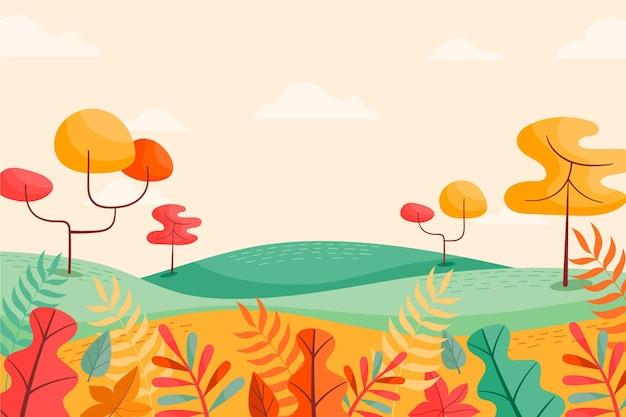 秋の背景に風景、木々 Premiumベクター