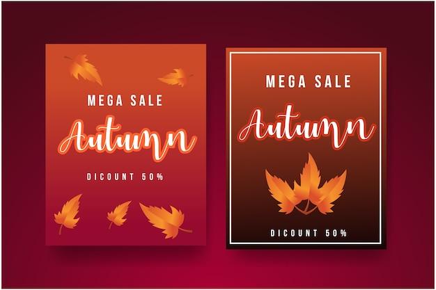 Осенний фон с листьями для покупок или промо-плакатов Premium векторы