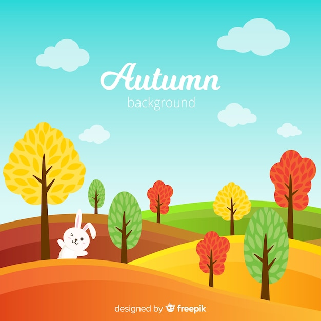 Autumn background with pretty leaves Free Vector