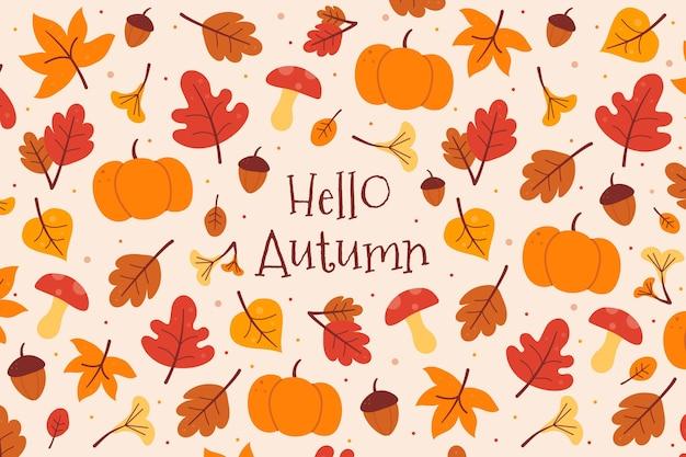 Осенний фон с тыквой и листьями Premium векторы