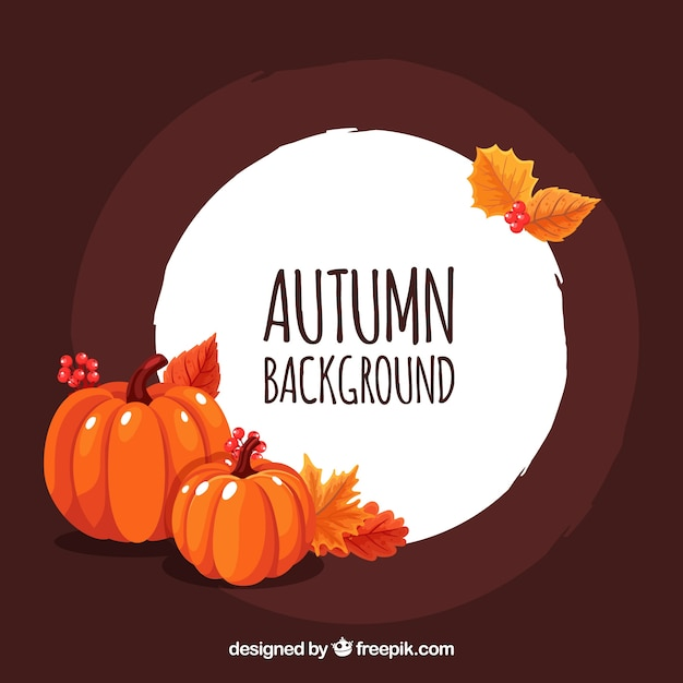 Autumn background with pumpkins Free Vector
