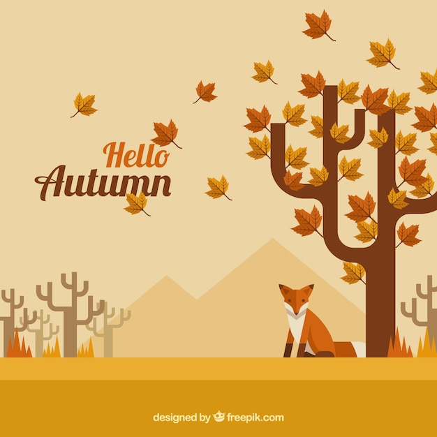 Autumn background with trees and fox