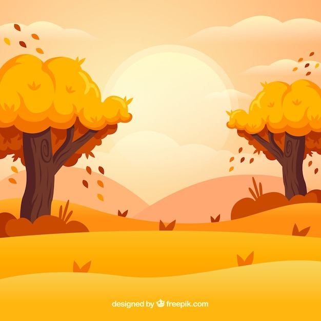 Autumn background with trees and landscape Free Vector