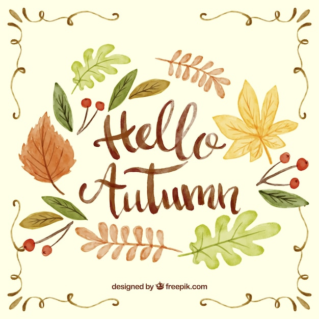 Autumn background with watercolor letters Free Vector
