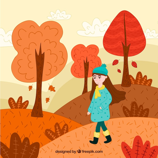 Autumn background with woman in\ landscape
