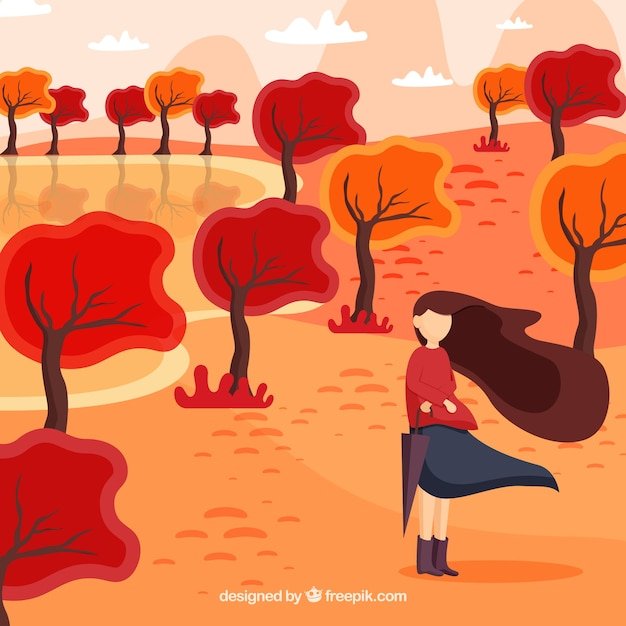 Autumn background with woman on a windy day Free Vector