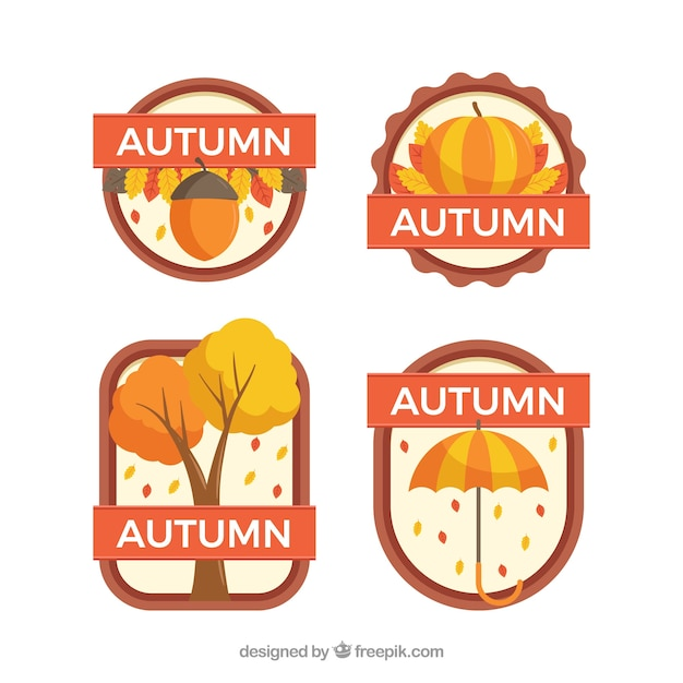 Autumn badges collection with leaves Free Vector