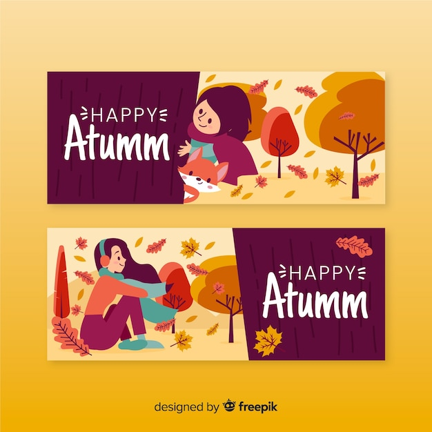 Autumn banner hand drawn style Free Vector