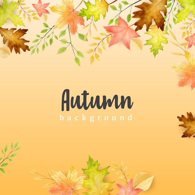Autumn banner with colorful autumn leaves background Premium Vector
