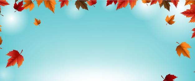 カラフルな葉のぼかしの背景と秋のバナー Premiumベクター