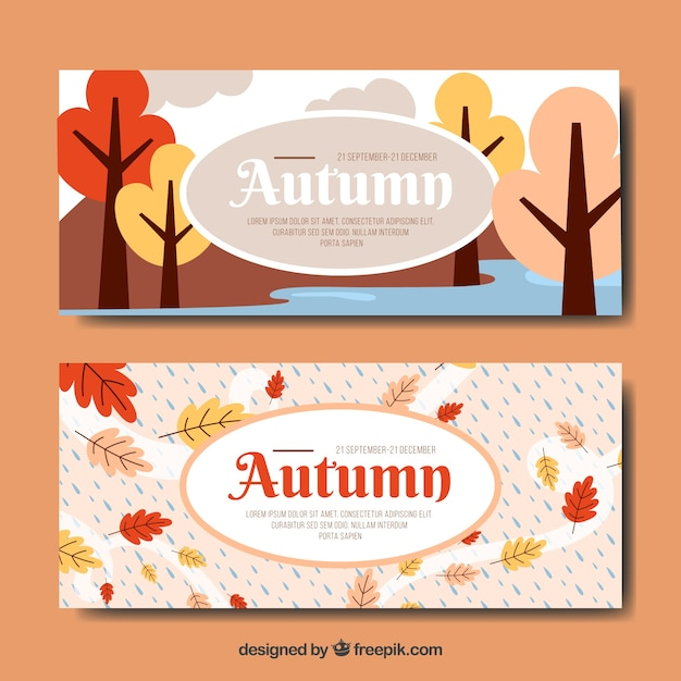 Autumn banner with forest design