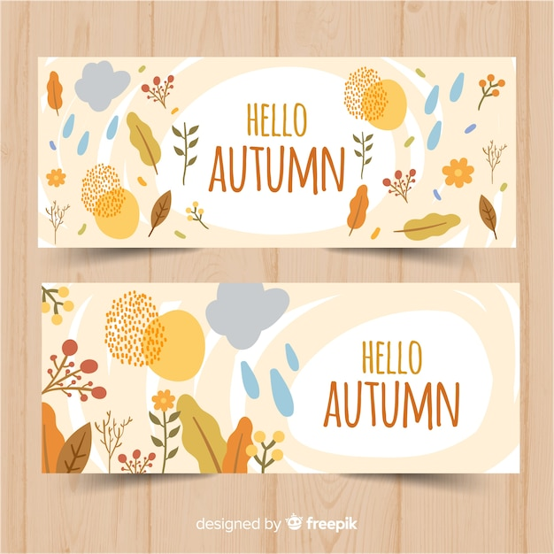 Autumn banners template flat design Free Vector