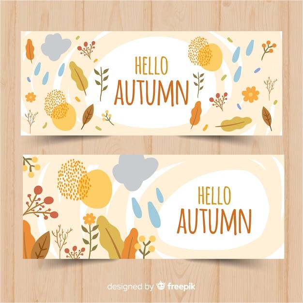 Autumn banners template flat design Premium Vector