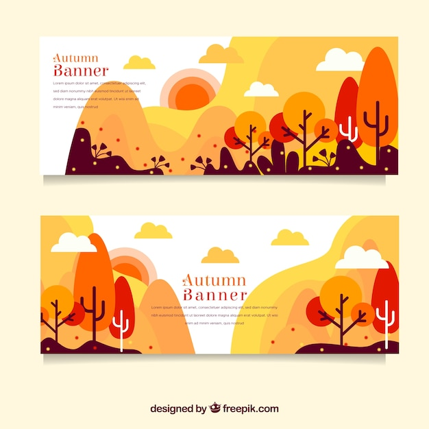 Autumn banners with colorful trees