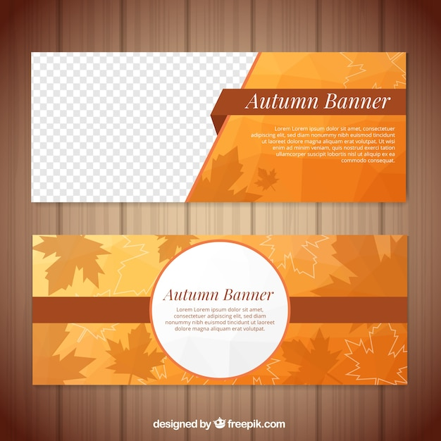 Autumn banners with flat design and elegant style