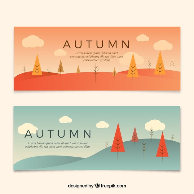 Autumn banners with landscape in flat\ style