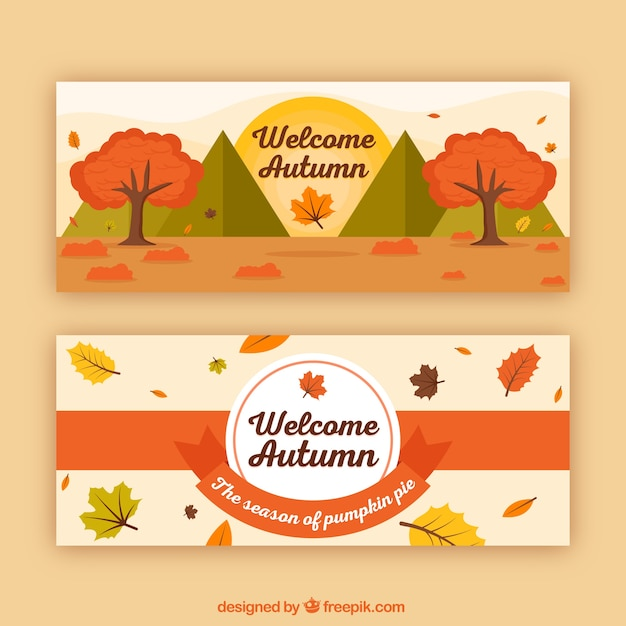 Autumn banners with landscape